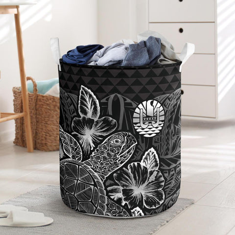 Image of Tahiti Laundry Basket  -  Polynesian Turtle Hibiscus Black