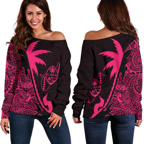 Guam Coconut Tree Off Shoulder Sweater Pink