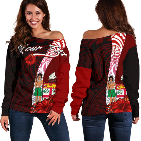 Image of Fiji Polynesian Custom Personalised Women's Off Shoulder Sweater - Coat Of Arm With Hibiscus