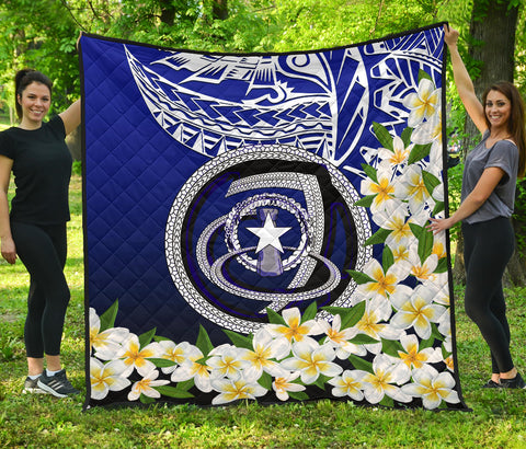 Image of Northern Mariana Islands Premium Quilt - Polynesian Plumeria Pattern