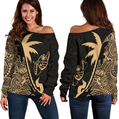 Guam Coconut Tree Off Shoulder Sweater Gold