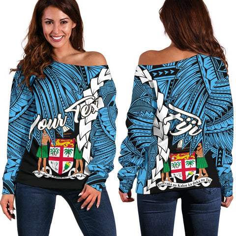 Fiji Polynesian Custom Personalised Women's Off Shoulder Sweater - Tribal Wave Tattoo Flag Style