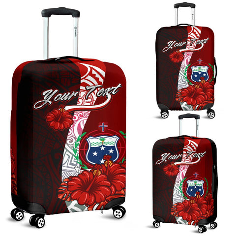Samoa Polynesian Custom Personalised Luggage Covers - Coat Of Arm With Hibiscus