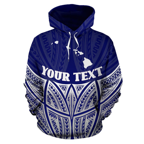 Hawaii Polynesian Custom Personalised Hoodie Blue Pride Map And Seal