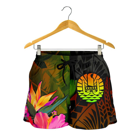 Tahiti Polynesian Women's Shorts -  Hibiscus and Banana Leaves