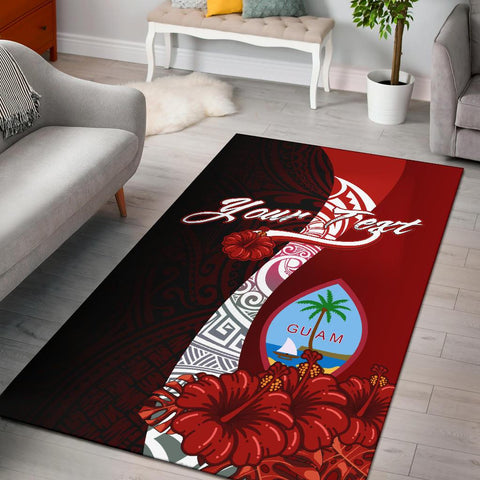 Guam Polynesian Custom Personalised Area Rug - Coat Of Arm With Hibiscus