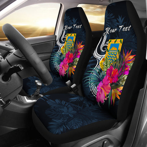 Image of Tuvalu Polynesian Custom Personalised Car Seat Covers - Tropical Flower