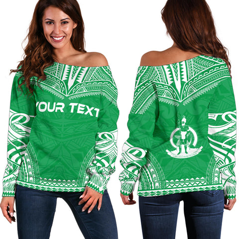 Vanuatu Polynesian Chief Custom Personalised Women's Off Shoulder Sweater - Flag Version - Polynesian Apparel, Poly Clothing, Women Sweater