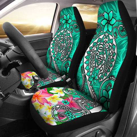 Polynesian Car Seat Covers - Turtle Plumeria Turquoise Color