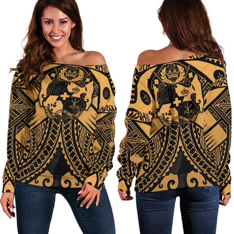 Tonga Polynesian Women's Off Shoulder Sweater - Tonga Gold Seal Polynesian Tattoo