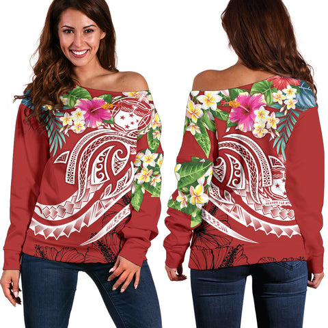 Polynesian Samoa Women's Off Shoulder Sweater - Summer Plumeria (Red)