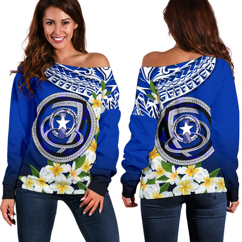 Northern Mariana Islands Women's Off Shoulder Sweater - Polynesian Plumeria Pattern