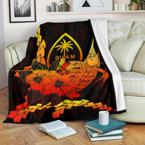 Image of Guam Polynesian Premium Blanket - Swordfish With Hibiscus