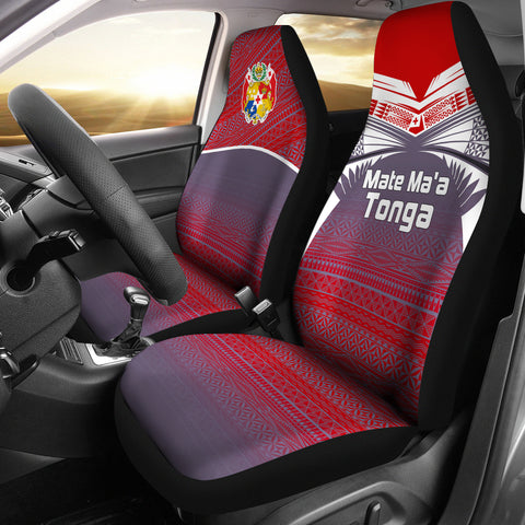 Tonga Polynesian Car Seat Covers - White Tattoo
