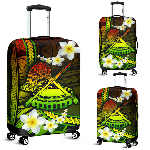 American Samoa Luggage Covers - Seal Of American Samoa With Plumeria Flowers