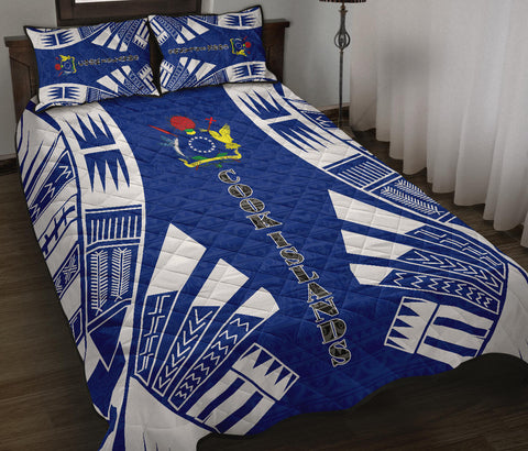Cook Islands Polynesian Quilt Bed Set - Blue Tattoo Style - BN0112