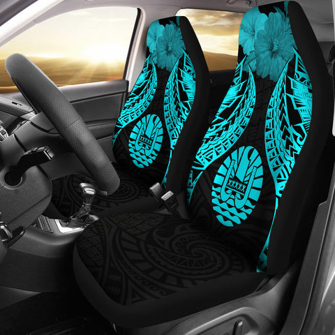 Tahiti Polynesian Car Seat Covers Pride Seal And Hibiscus Neon Blue