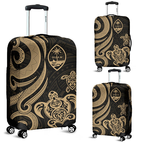 Guam Polynesian Luggage Covers - Gold Tentacle Turtle