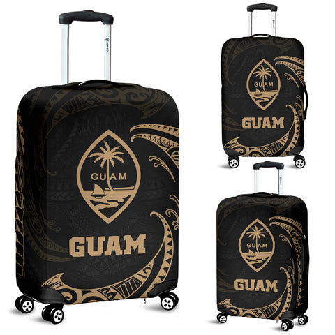 uam Polynesian Luggage Covers - Gold Tribal Wave