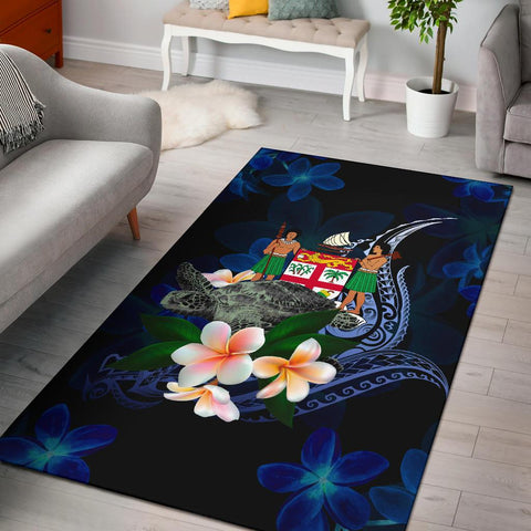 Fiji Polynesian Area Rug - Turtle With Plumeria Flowers