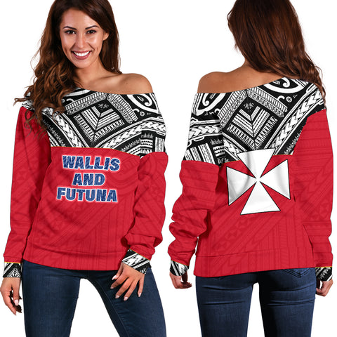 Image of Wallis And Futuna Women's Off Shoulder Sweater - Polynesian Design