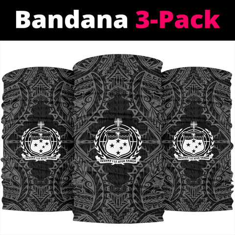 Samoa Polynesian Bandana 3-Pack - Coat Of Arm Black