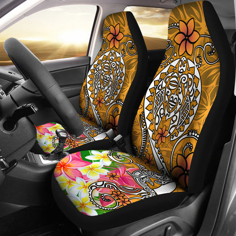 Polynesian Car Seat Covers - Turtle Plumeria Gold Color