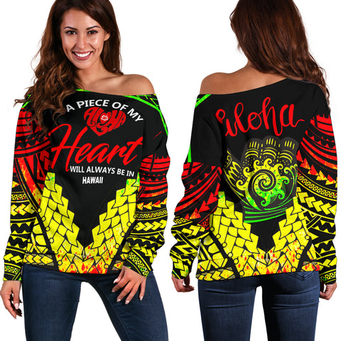 Hawaii Women's Off Shoulder Sweater  - A Piece Of My Heart - BN20