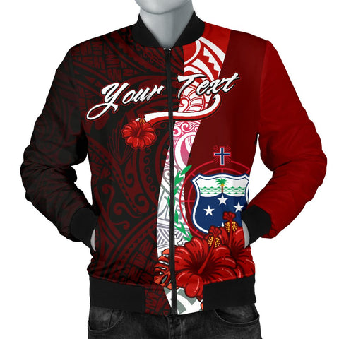 Samoa Polynesian Custom Personalised Men's Bomber Jacket - Coat Of Arm With Hibiscus