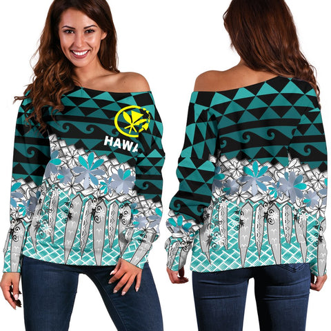 Hawaii Women's Off Shoulder Sweaters  - Coconut Leaves Weave Pattern Blue - BN20