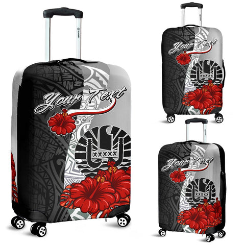 Tahiti Polynesian Custom Personalised Luggage Covers - Coat Of Arm With Hibiscus White - BN12