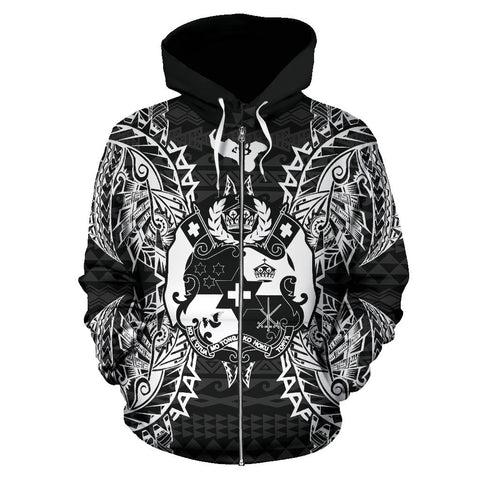 Tonga Polynesian All Over Zip Up Hoodie Map Black