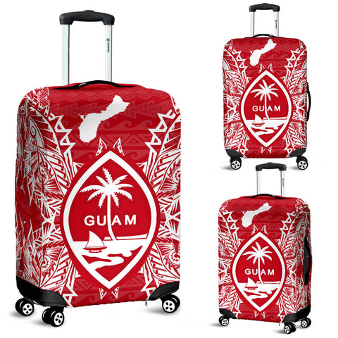 Guam Polynesian Luggage Covers Map Red White