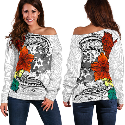 Image of Tonga Women's Off Shoulder Sweater - Tropical Flowers White Patterns Style