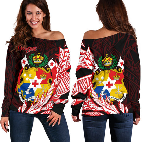 Tonga Women's Off Shoulder Sweater - Wings Style - BN01