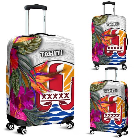Image of Tahiti Luggage Covers Polynesian Hibiscus White Pattern