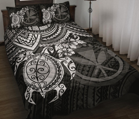Polynesian Hawaii Quilt Bed Set - White Turtle