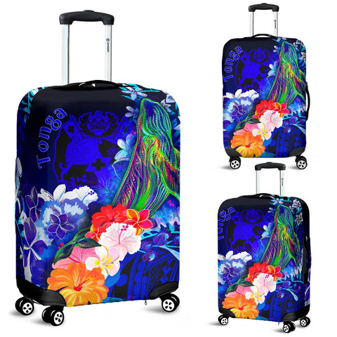Tonga Luggage Covers - Humpback Whale with Tropical Flowers (Blue)