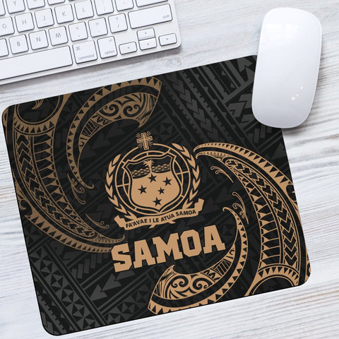 Samoa Polynesian Mouse Pad - Gold Tribal Wave
