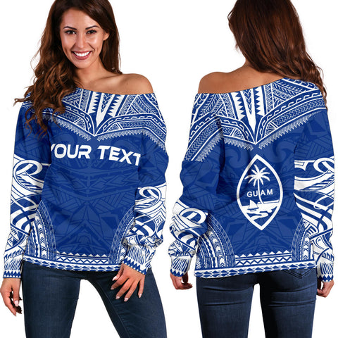 Image of Guam Polynesian Chief Custom Personalised Women's Off Shoulder Sweater - Flag Version - Polynesian Apparel, Poly Clothing, Women Sweater