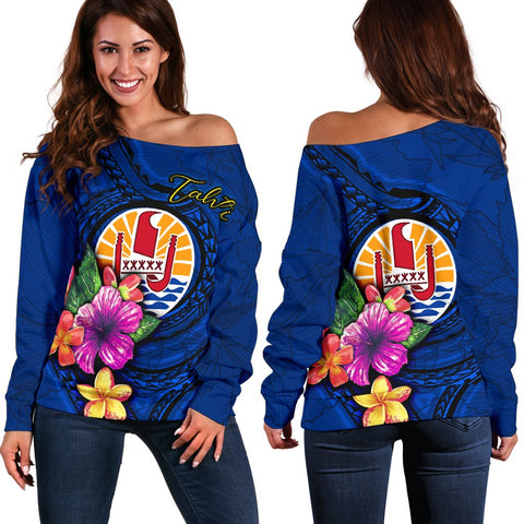 Image of Tahiti Polynesian Women's Off Shoulder Sweater - Floral With Seal Blue