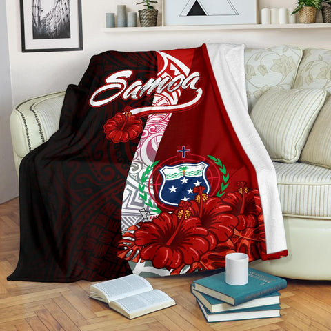 Samoa Polynesian Premium Blanket - Coat Of Arm With Hibiscus - BN12