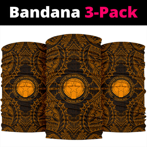 Northern Mariana Islands Polynesian Bandana 3-Pack - Coat Of Arm Gold