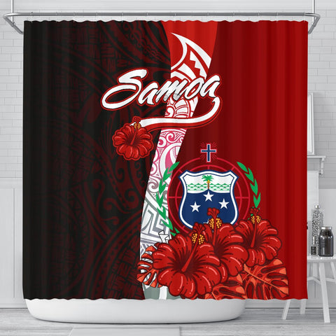 Samoa Polynesian Shower Curtain - Coat Of Arm With Hibiscus