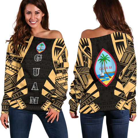 Guam Women's Off Shoulder Sweater - Polynesian Tattoo Gold