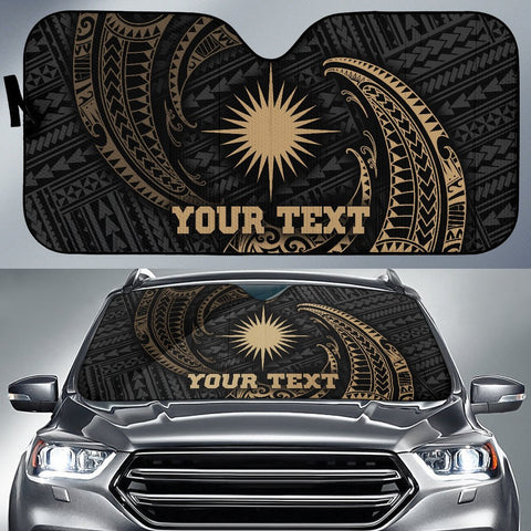 Polynesian Marshall Islands Custom Personalised Sun Shades - Gold Tribal Wave