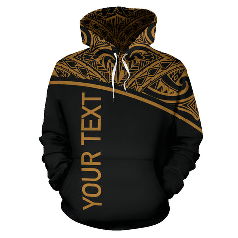 Image of Turtle All Over Custom Personalised Hoodie - Polynesian Gold Curve Style - BN09