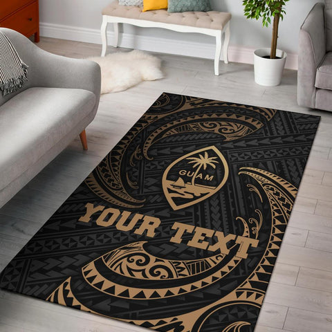 Guam Polynesian Custom Personalised Area Rug - Gold Tribal Wave
