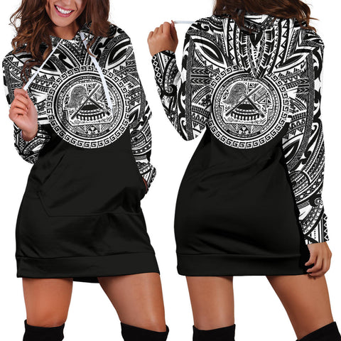 American Samoa Women Hoodie Dress - American Samoa Coat Of Arms Polynesian Black Color