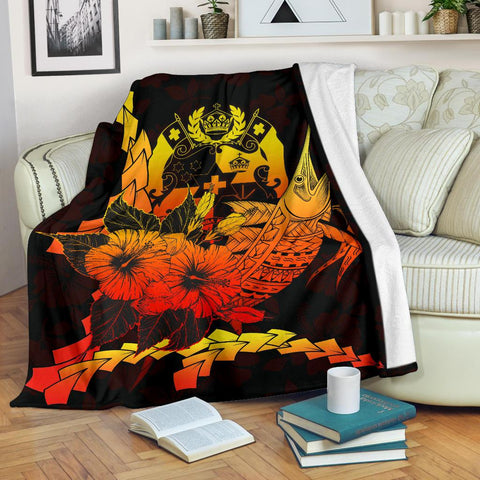 Tonga Polynesian Premium Blanket - Swordfish With Hibiscus